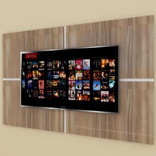 Painel Tv pequeno moderno amadeirado escuro com branco