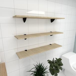 Kit 3 prateleiras para banheiro em MDF suporte tucano amadeirado claro 90x20cm modelo pratbnamc09