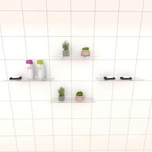 Kit com quatro Prateleira para banheiro 40 cm vidro temperado