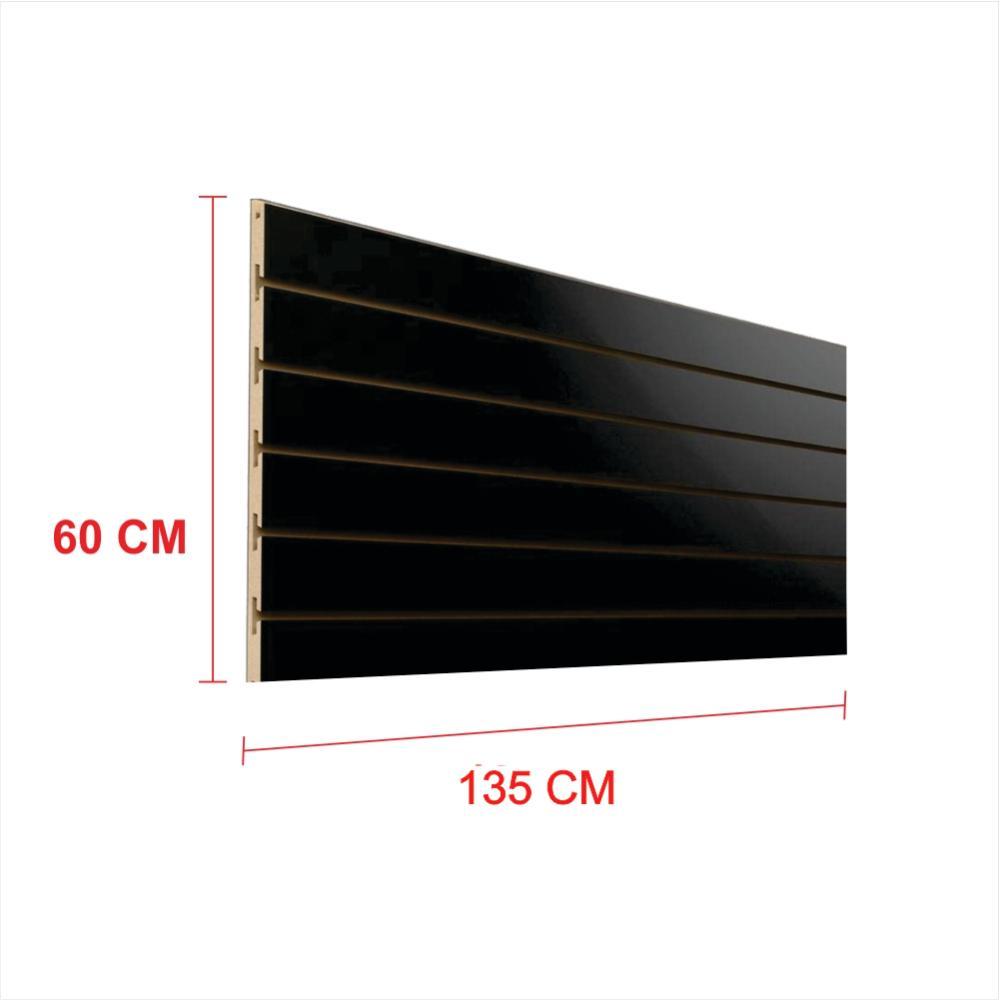 Expositor painel canaletado 18mm preto altura 60 cm comp 135 cm