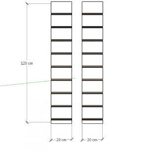 Kit 2 Painel canaletado para pilar amadeirado escuro 2 peças 20(L)x120(A)cm