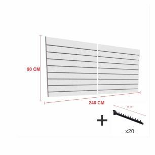 Kit Painel canaletado cinza alt 90 cm comp 240 cm mais 20 ganchos rt 40 cm para roupas