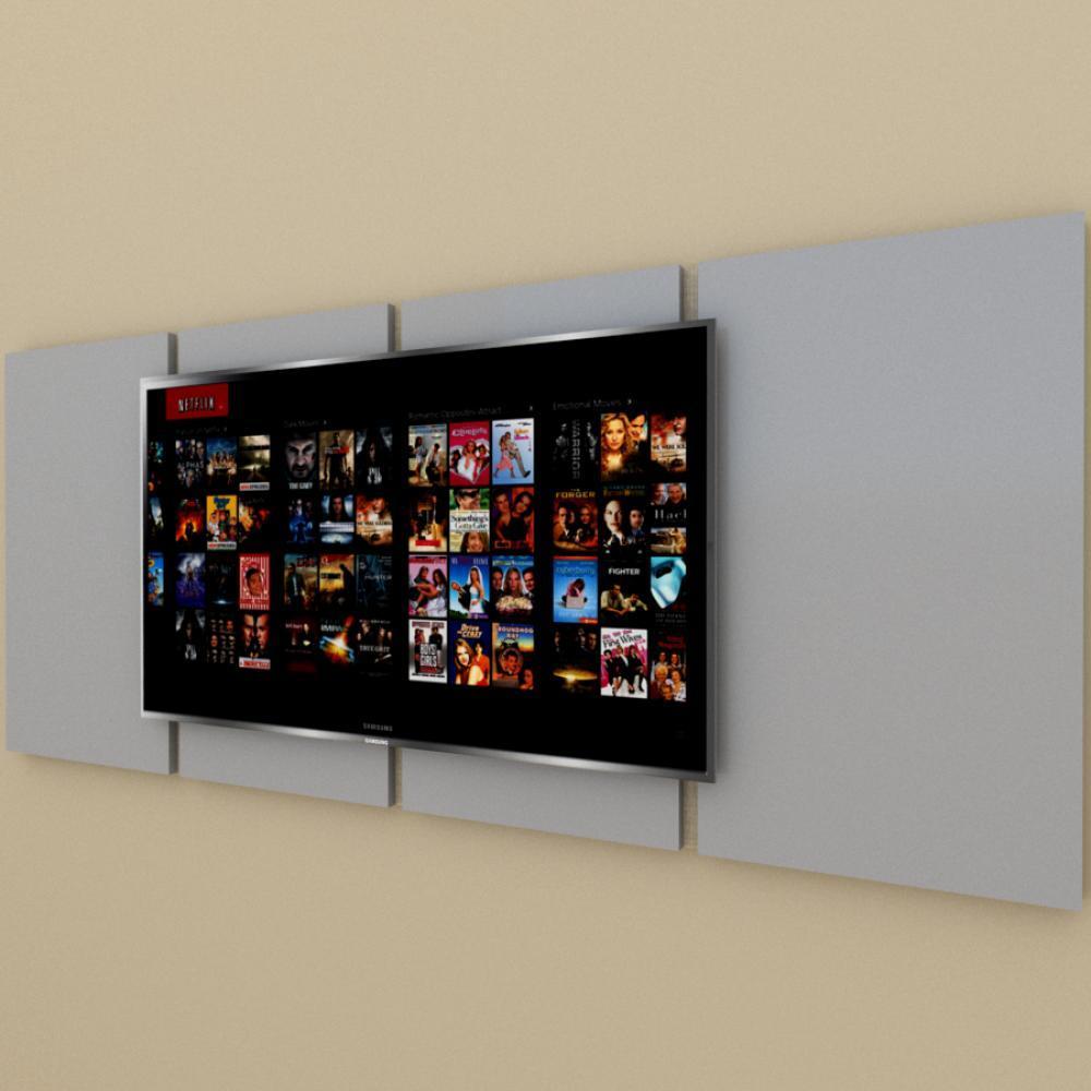 Painel Tv pequeno moderno cinza com amadeirado claro