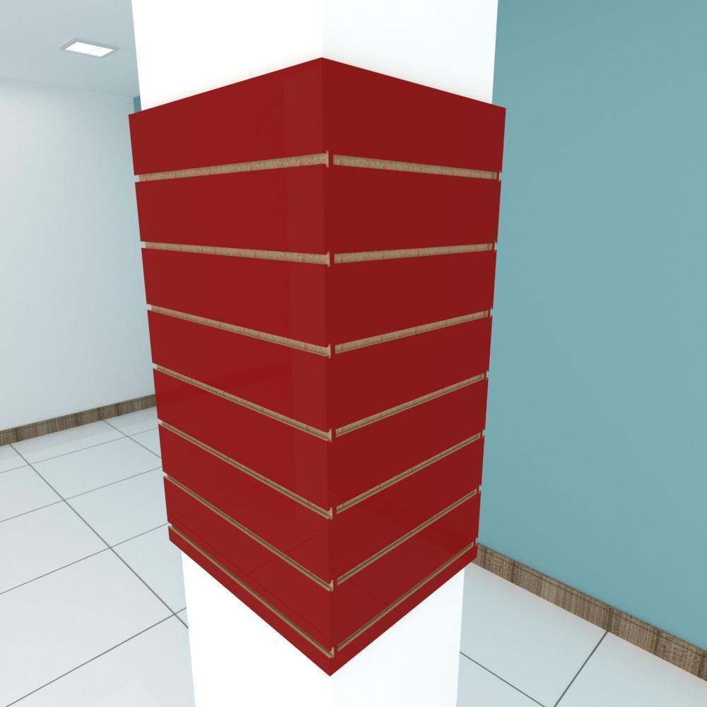 Kit 4 Painel canaletado para pilar vermelho escuro 2 peças 54(L)x90(A)cm + 2 peças 40(L)x90(A)cm
