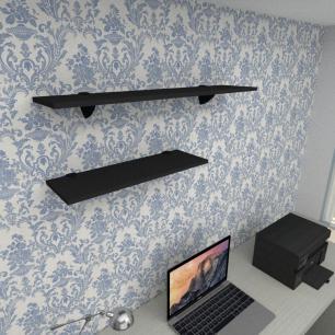 Kit 2 prateleiras escritório em MDF suporte tucano preto 1 60x20cm 1 90x20cm modelo pratesp17