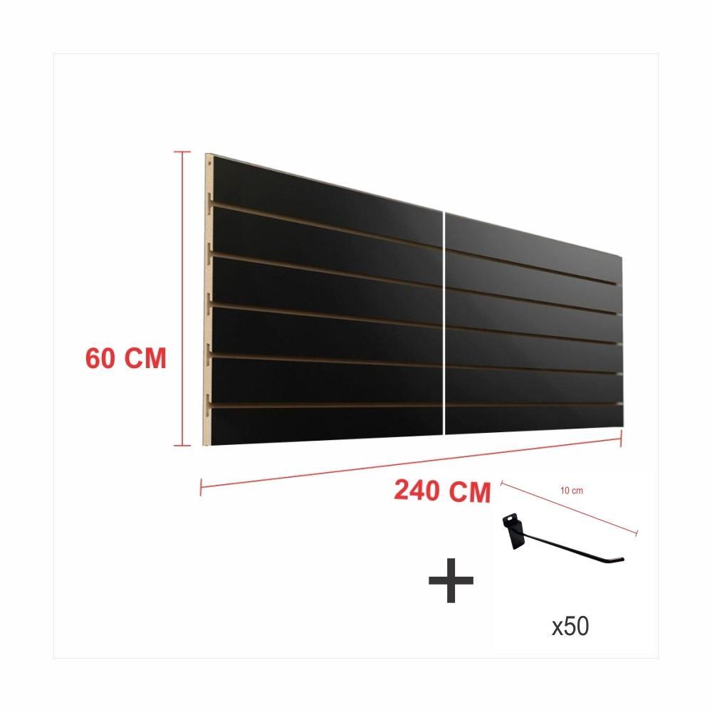 Painel com ganchos preto alt 60 cm comp 240 cm mais 50 ganchos 10 cm
