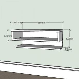 Mesa de Cabeceira slim com nichos prateleiras em mdf Branco