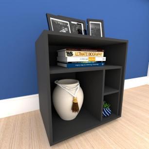 Mesa lateral para sofá formato S minimalista em mdf Preto