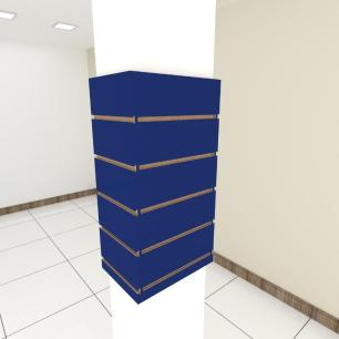 Kit 4 Painel canaletado para pilar azul escuro 2 peças 24(L)x60(A)cm + 2 peças 30(L)x60(A)cm
