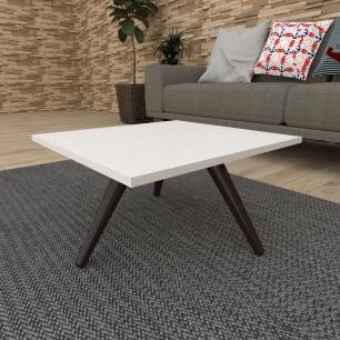 Mesa de Centro quadrada em mdf branco com 3 pés inclinados em madeira maciça cor tabaco