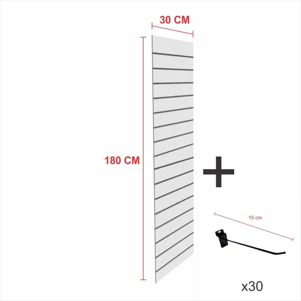Kit Painel canaletado cinza alt 180 cm comp 30 cm mais 30 ganchos 10 cm