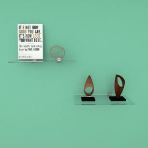 Kit com duas Prateleira para escritório 30 cm vidro temperado