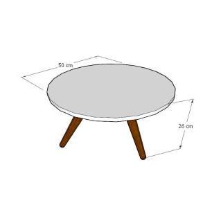 Mesa de Centro redonda em mdf amadeirado claro com 3 pés inclinados em madeira maciça cor mogno