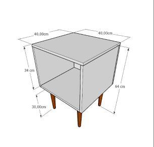 Mesa de Cabeceira moderna em mdf branco com 4 pés retos em madeira maciça cor tabaco