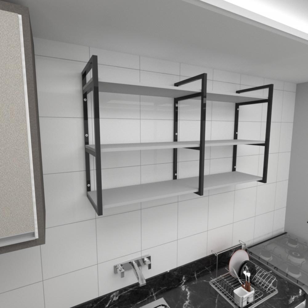 Prateleira industrial para cozinha aço cor preto prateleiras 30 cm cor cinza modelo ind11cc