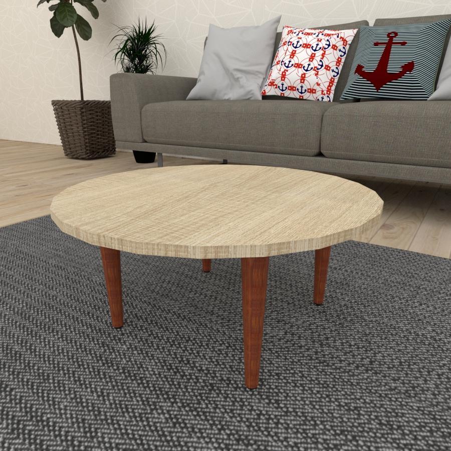 Mesa de Centro redonda em mdf amadeirado claro com 4 pés retos em madeira maciça cor mogno