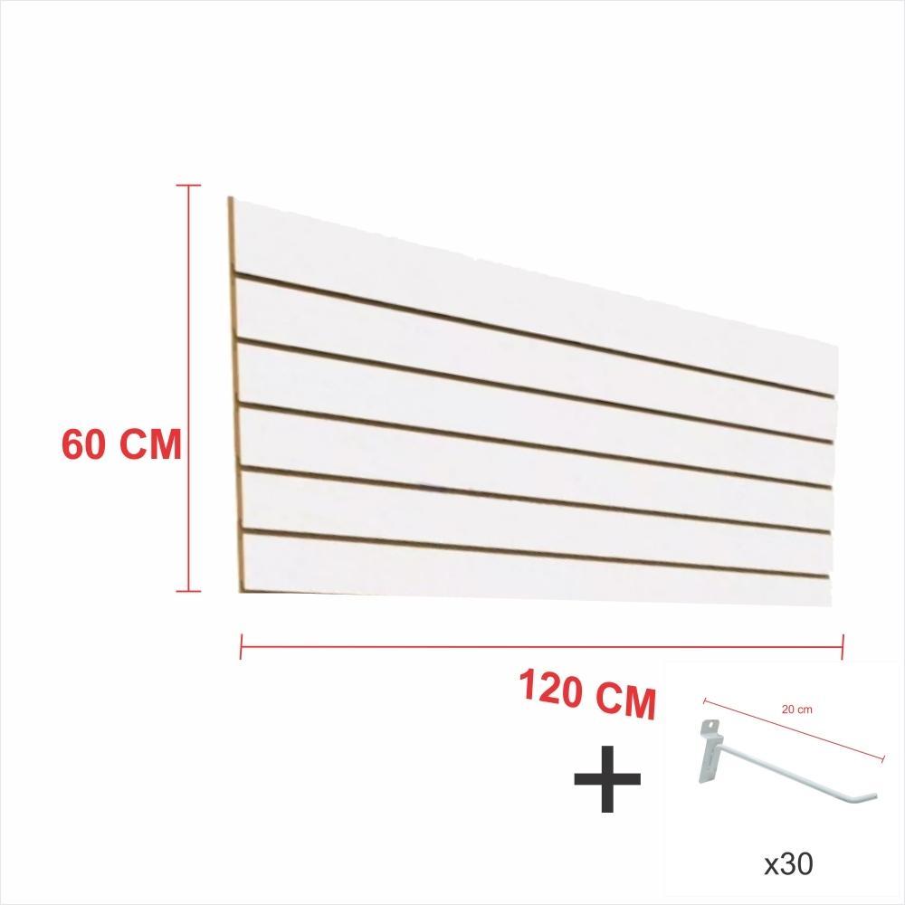Expositor canaletado branco alt 60 cm comp 120 cm mais 30 ganchos 20 cm