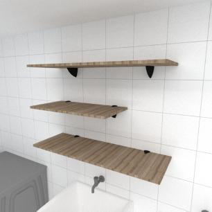 Kit 3 prateleiras lavanderia MDF sup tucano amadeirado escuro 1 60x30cm 2 90x30cm mod pratlvame13