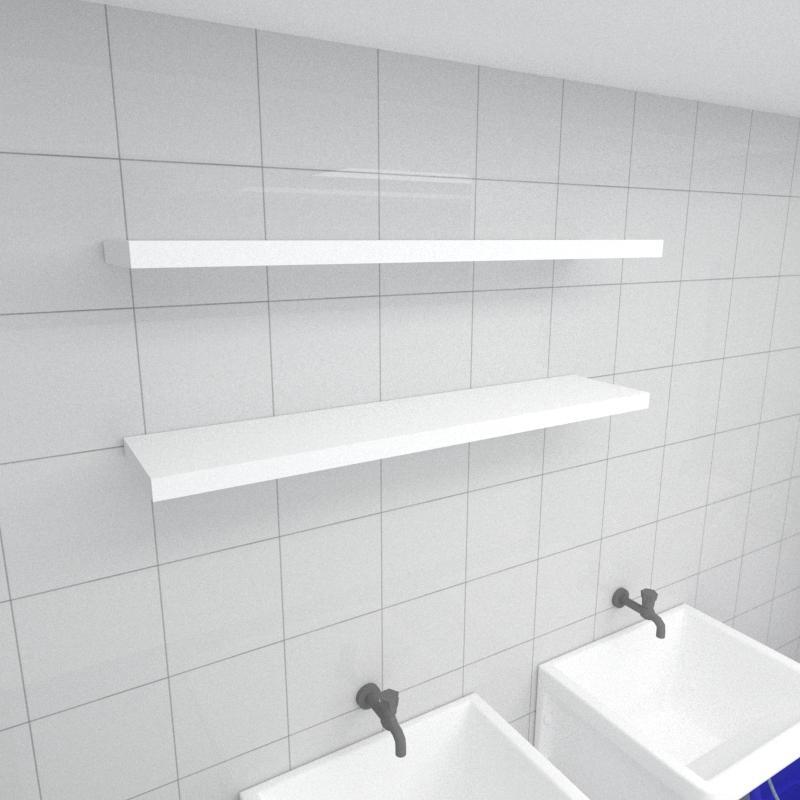 Kit 2 prateleiras para lavanderia em MDF suporte Inivisivel branco 90x20cm modelo pratlvb26