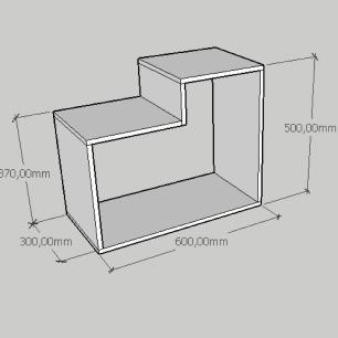 Mesa de cabeceira moderna simples com nichos em mdf cinza