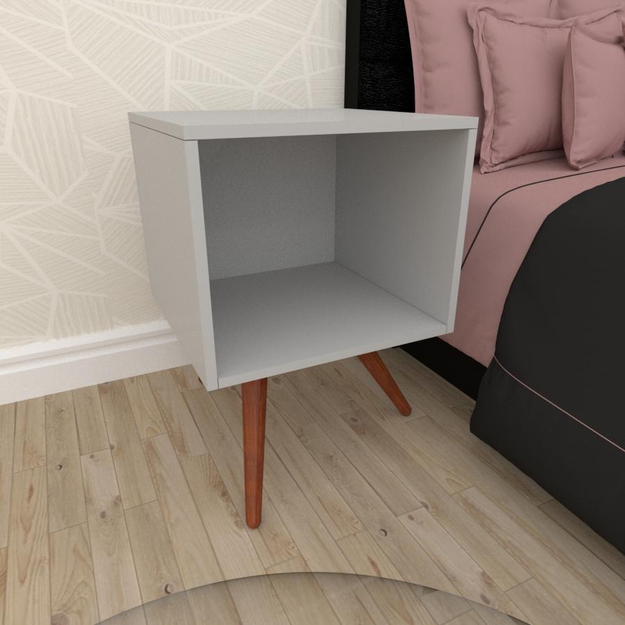 Mesa de Cabeceira moderna em mdf cinza com 3 pés inclinados em madeira maciça cor mogno