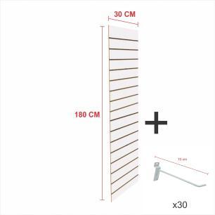 Kit Painel canaletado branco alt 180 cm comp 30 cm mais 30 ganchos 10 cm