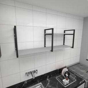 Prateleira industrial para cozinha aço cor preto prateleiras 30 cm cor cinza modelo ind07cc