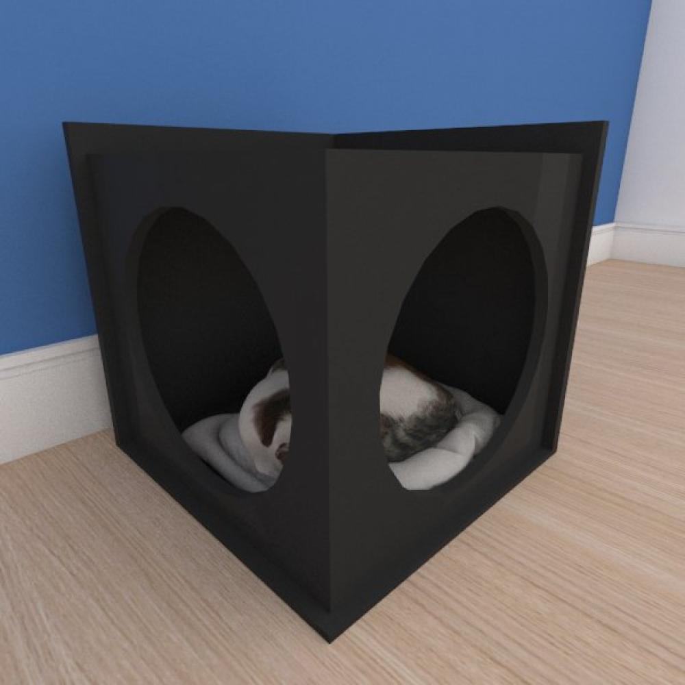 Caminha simples pequeno gato em mdf preto