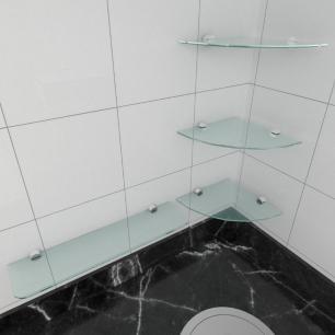 kit com 4 Prateleira de vidro temperado para cozinha 3 de 20 cm para canto e 1 de 40 cm reta