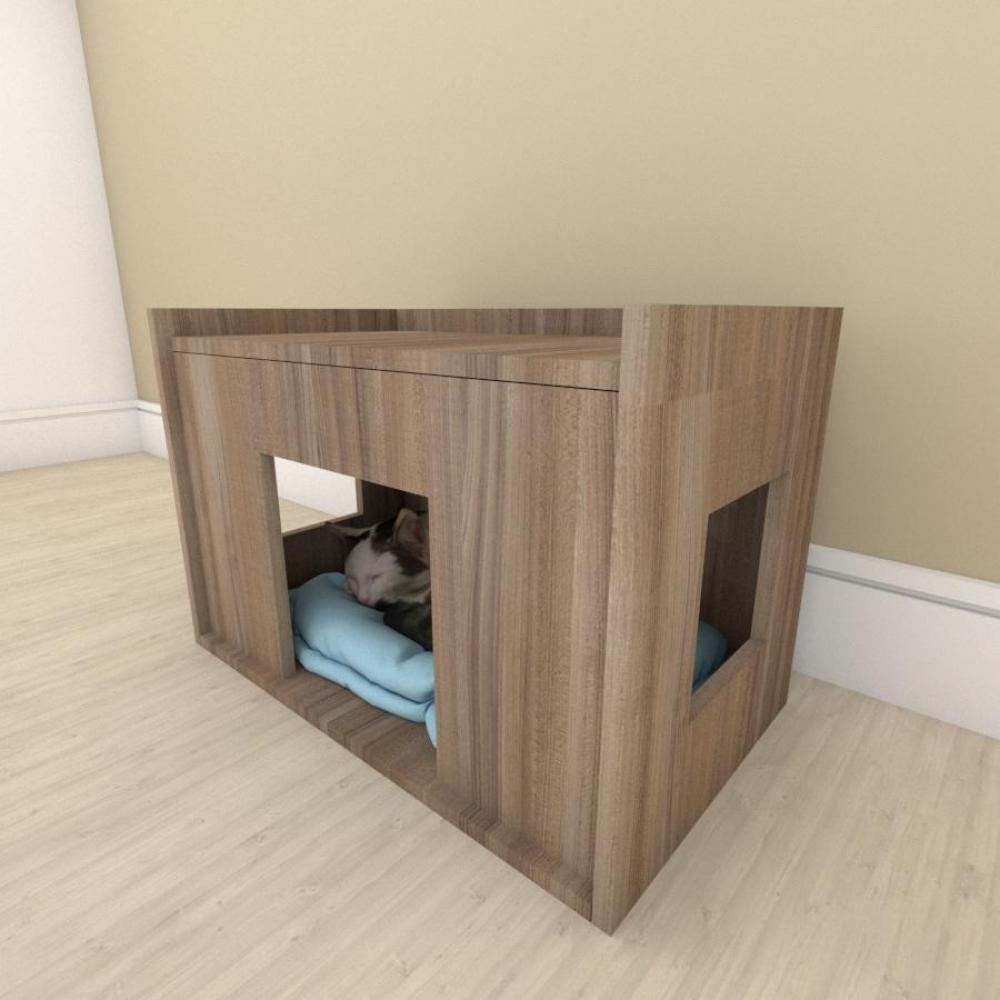 bercinho casinha para Gato em mdf Amadeirado
