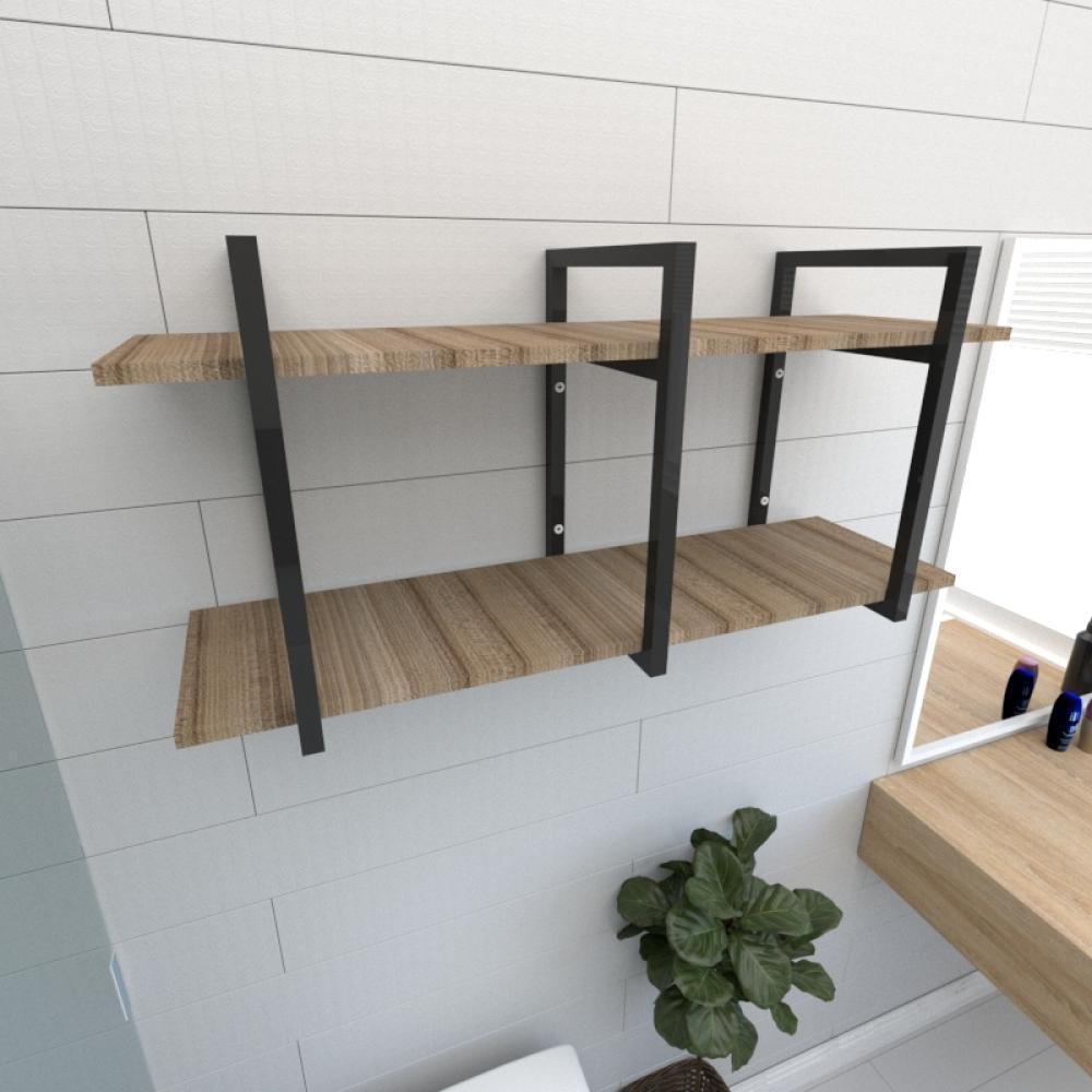 Prateleira industrial banheiro aço cor preto prateleiras 30cm cor amadeirado escuro mod ind23aeb
