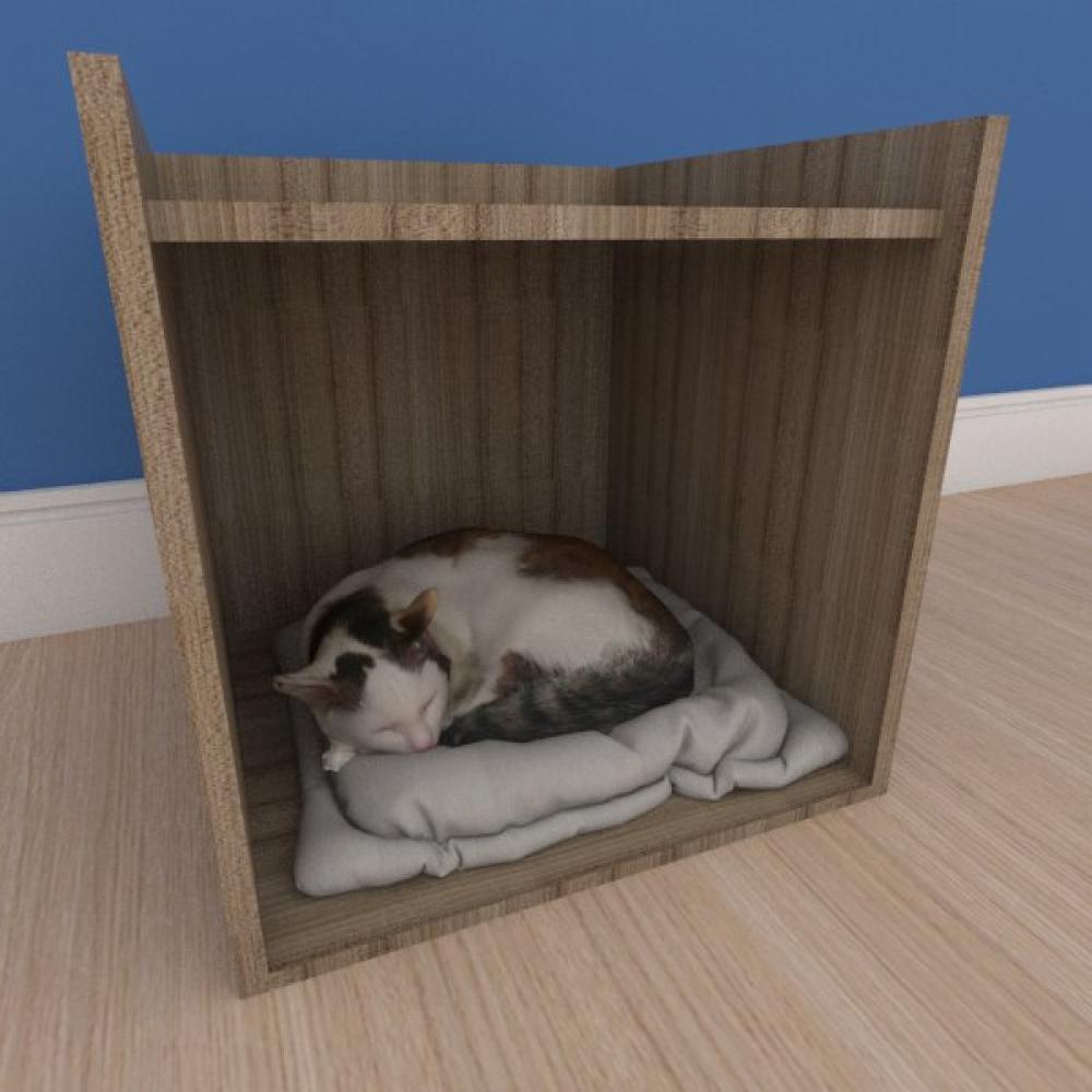 Mesa de cabeceira caminha casinha pequeno gato em mdf amadeirado