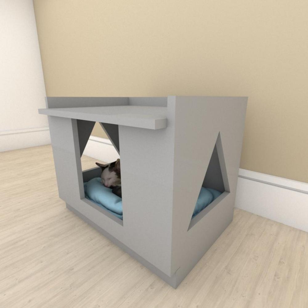 Mesa de cabeceira camapet para Gato em mdf Cinza