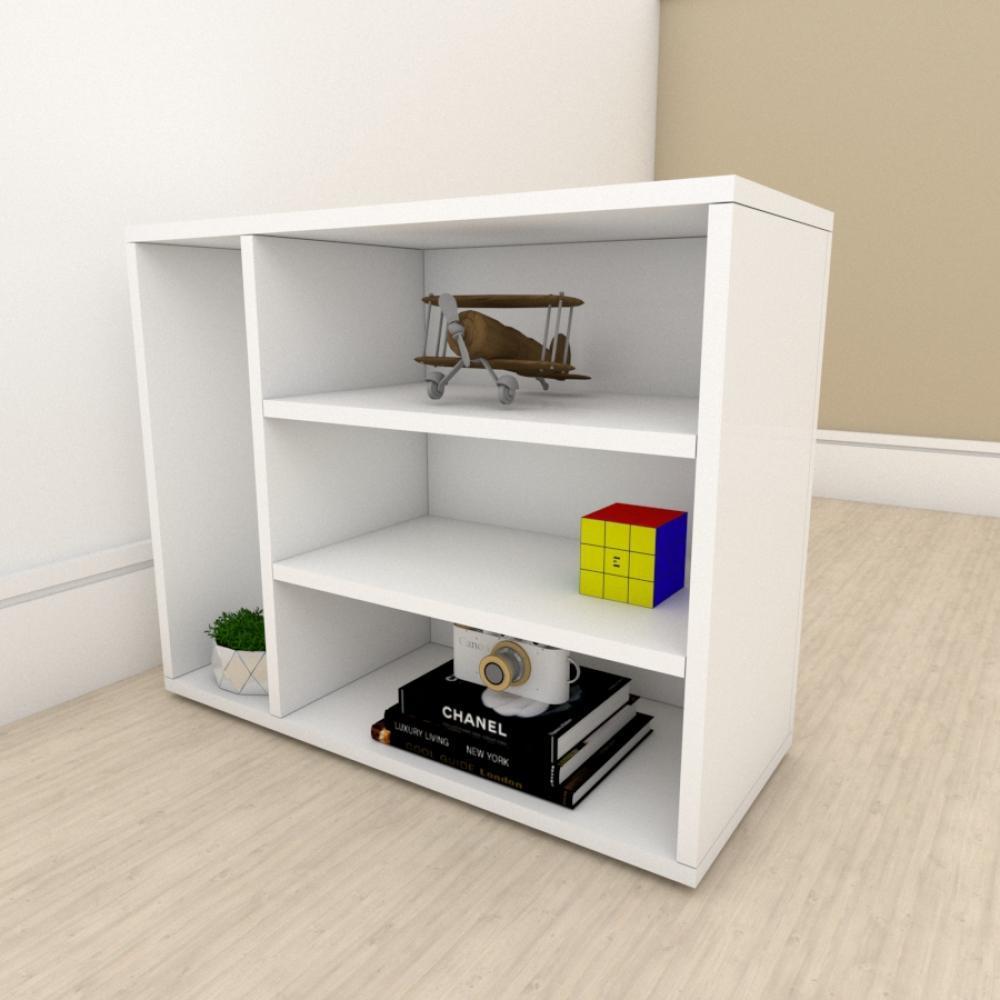 Estante escritório slim com 3 niveis em mdf Branco
