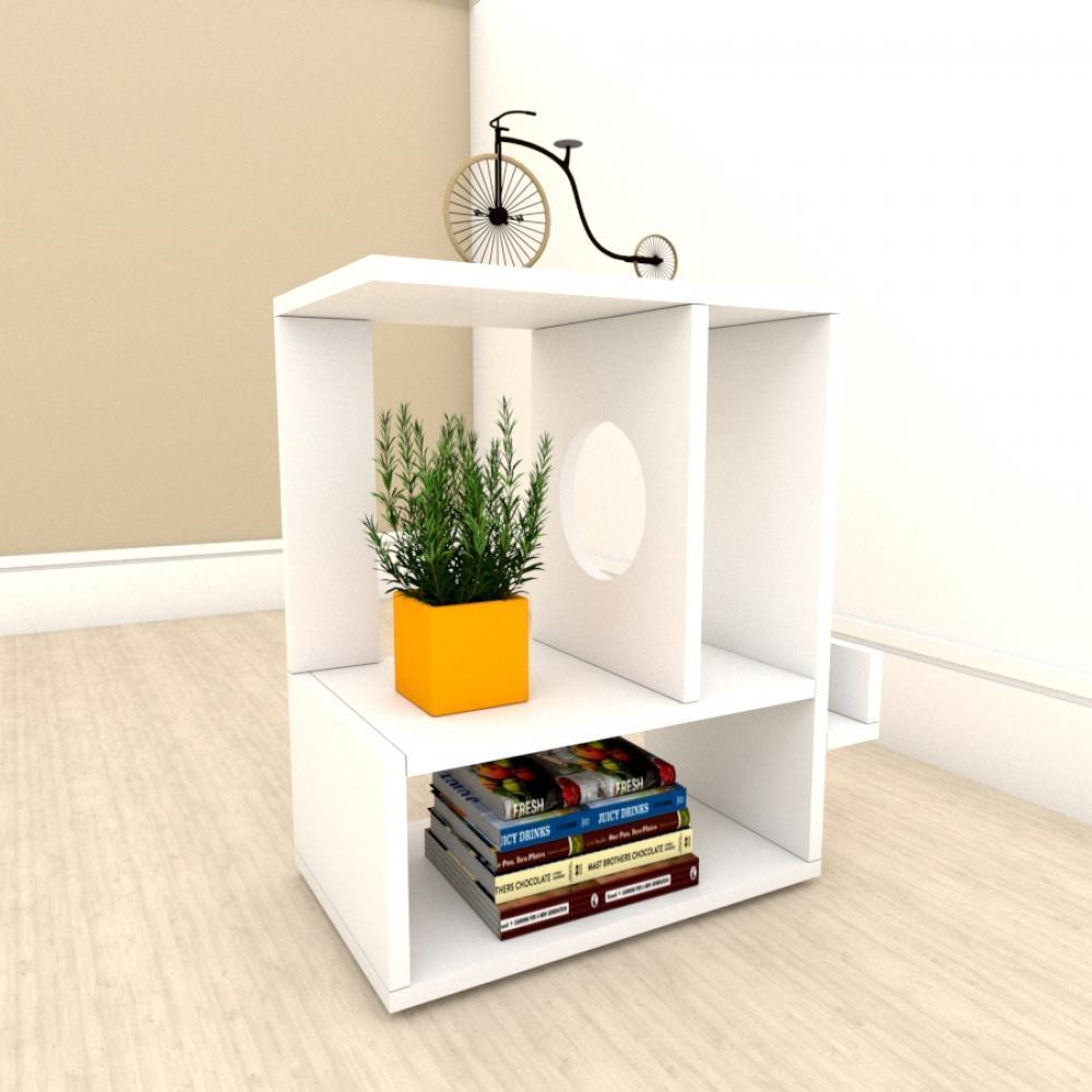 kit com 2 Mesa de cabeceira moderna com 3 niveis em mdf Branco
