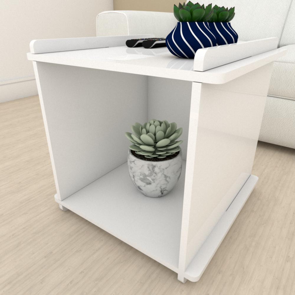Kit com 2 Mesa de cabeceira Moderna Branco