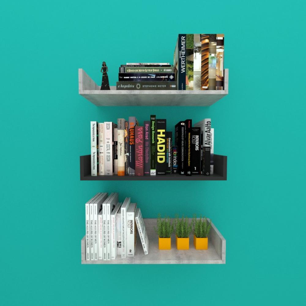 Estante de Livros nichos modernos, em mdf Rustico com preto