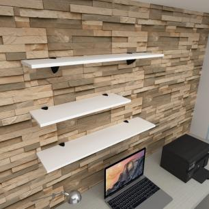 Kit 3 prateleiras escritório em MDF suporte tucano branco 1 60x20cm 2 90x20cm modelo pratesb16