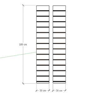 Kit 2 Painel canaletado para pilar amadeirado escuro 2 peças 30(L)x180(A) cm