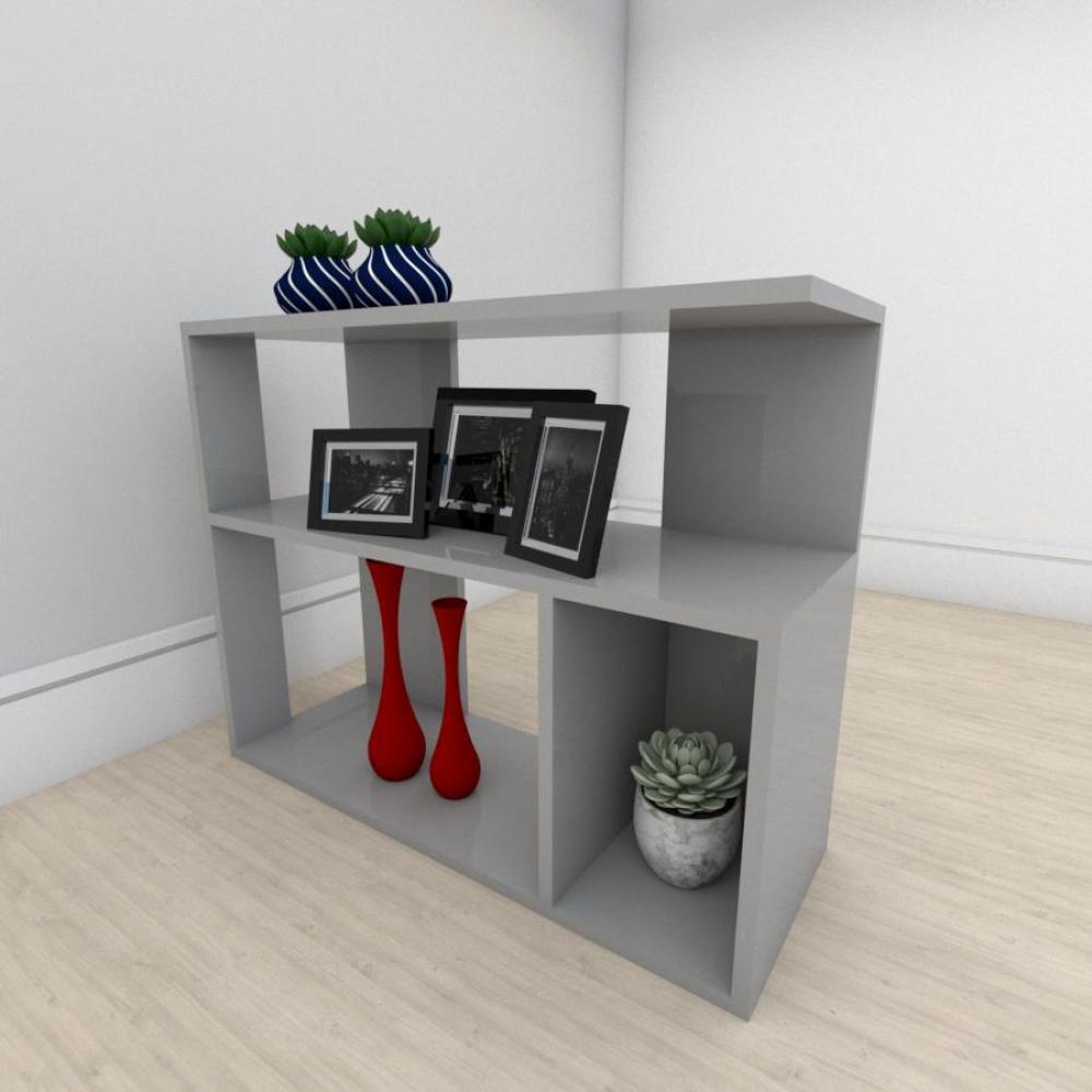 Estante para livros formato minimalista em mdf Cinza
