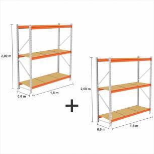 kit com 2  Mini Porta Pallet 2 Inicial 250KG Com 3 niveis 2,00X1,80X0,60 com band. em MDF CRU