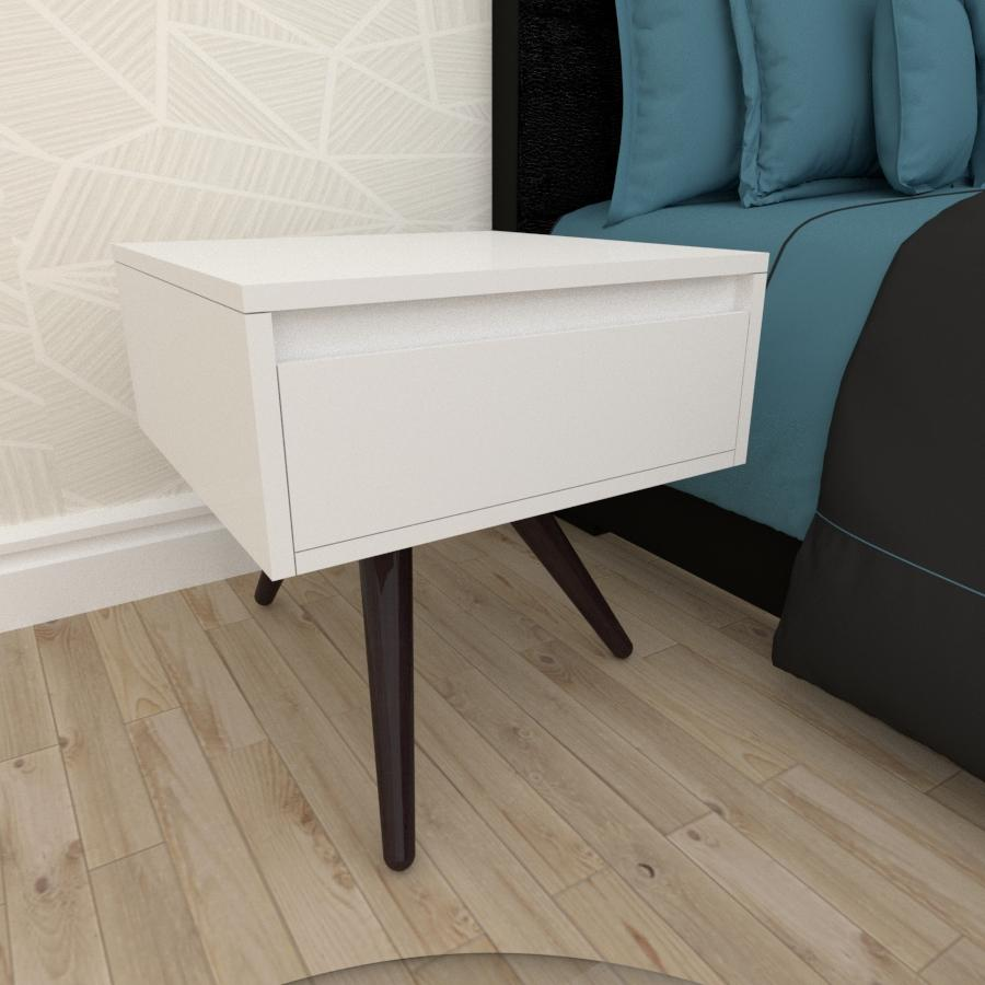 Mesa de Cabeceira com gaveta em mdf branco com 3 pés inclinados em madeira maciça cor tabaco