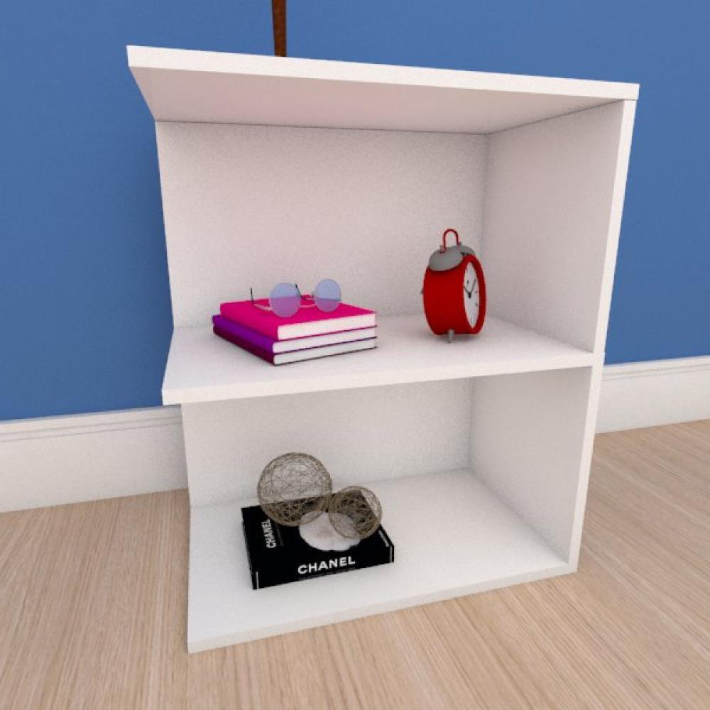 Estante de Livros compacta em mdf branco