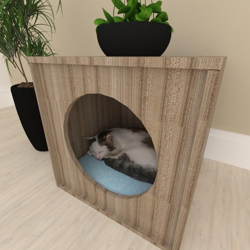 Mesa de cabeceira Casinha caminha gato mdf Amadeirado escuro