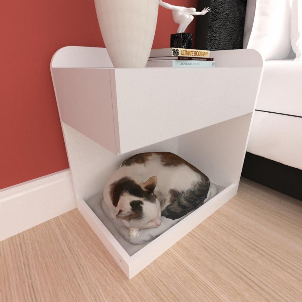 Casinha caminha criado mudo gato gaveta mdf cor branco cinza