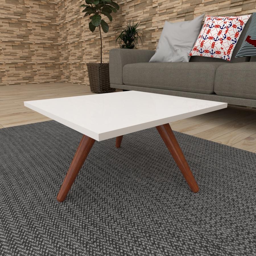 Mesa de Centro quadrada em mdf branco com 3 pés inclinados em madeira maciça cor mogno