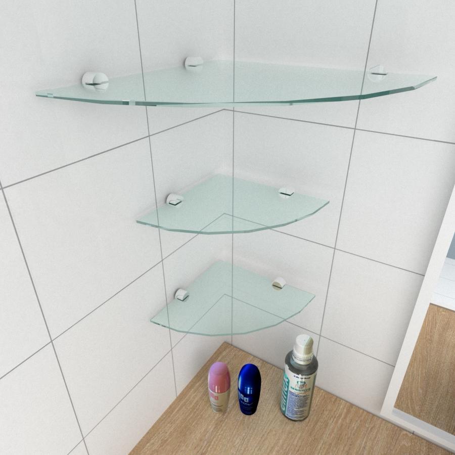 kit com 3 Prateleira para canto de vidro temperado para banheiro 1 de 30 cm e 2 de 20 cm