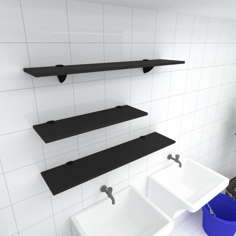Kit 3 prateleiras lavanderia em MDF suporte tucano preto 1 60x20cm 2 90x20cm modelo pratlvp16