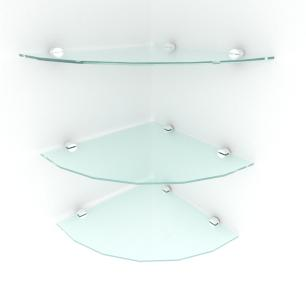 kit com 3 Prateleira para canto de vidro temperado para sala profundidade 30 cm