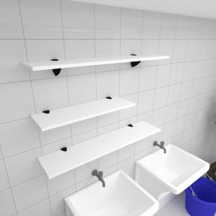 Kit 3 prateleiras lavanderia em MDF suporte tucano branco 1 60x20cm 2 90x20cm modelo pratlvb16